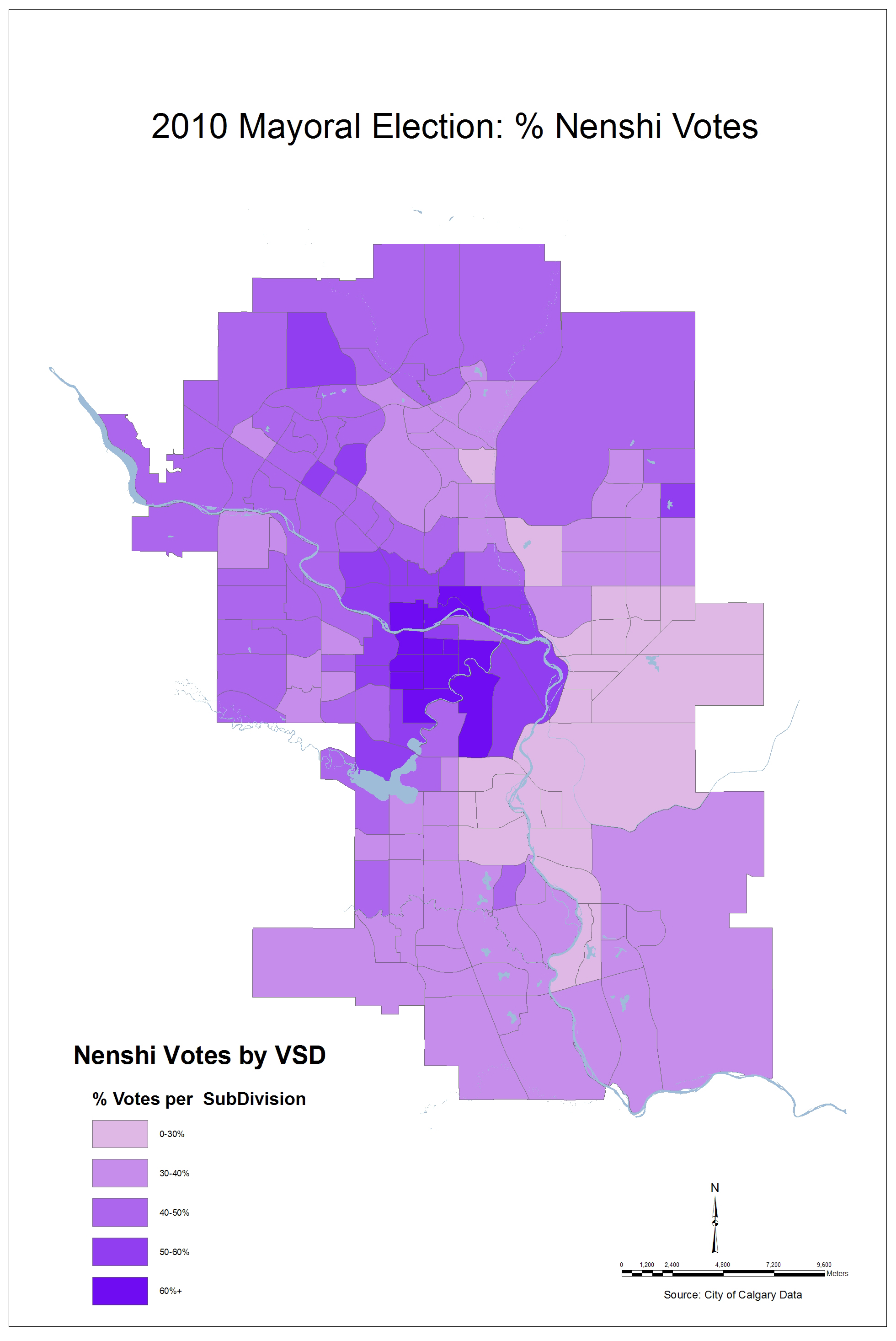 Fun With Maps Top 3 Calgary Mayoral Candidate Vote Share